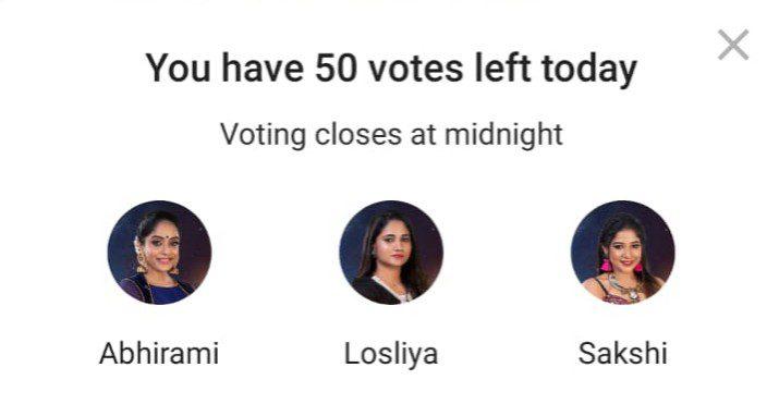 Bigg Boss Tamil Vote 3: Abhirami, Losliya, And Sakshi Nominated this