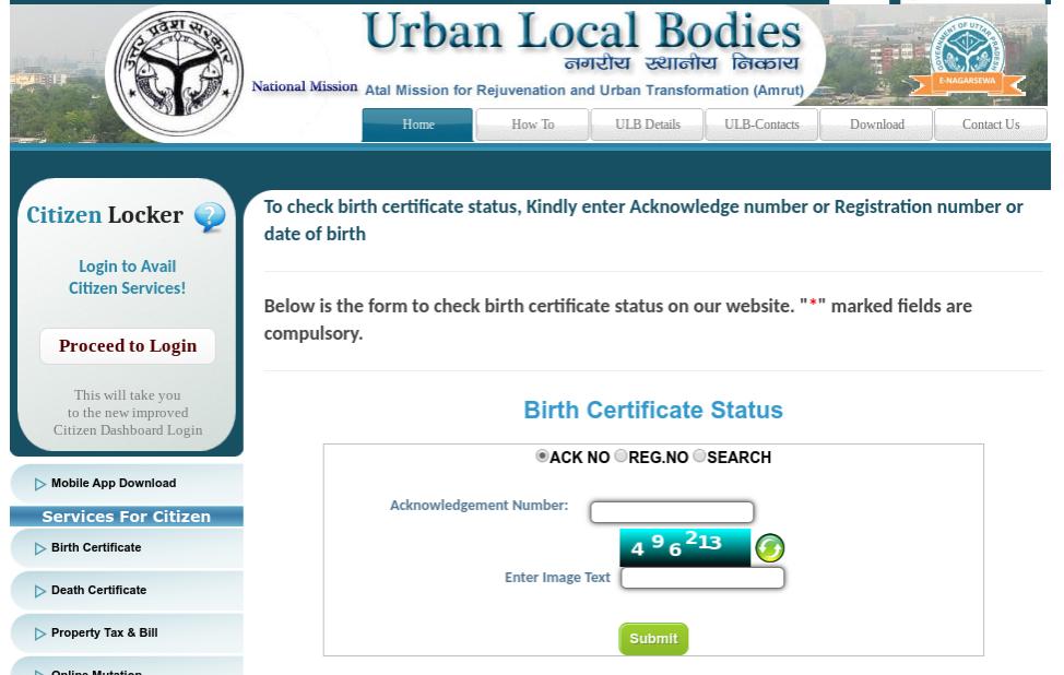 UP Check Birth Certificate Status