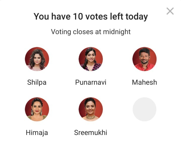 Bigg Boss Telugu Vote Online : Shilpa, Himaja, Punarnavi, Sreemukhi, and Mahesh Nominated In This Week Eliminations