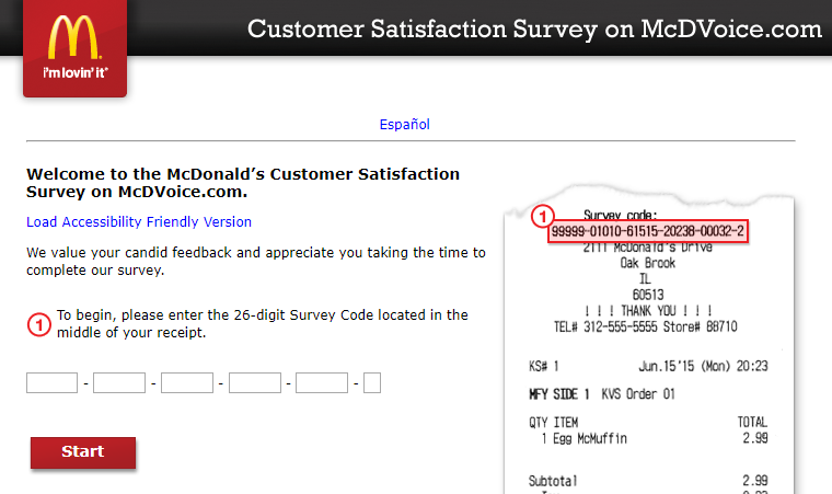 McDVoice: McDonald's Official Survey [Get Free Meal] at www.Mcdvoice.com