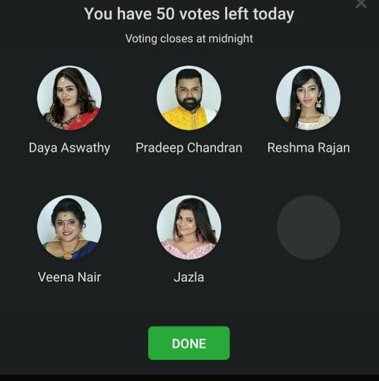 Image result for bigg boss malayalam 2 vote