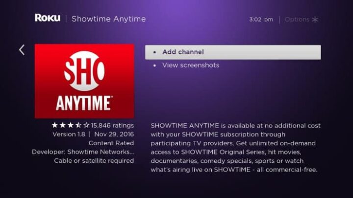 Start Showtime Anytime on Roku Tv 2