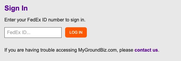 MyGroundBiz login page