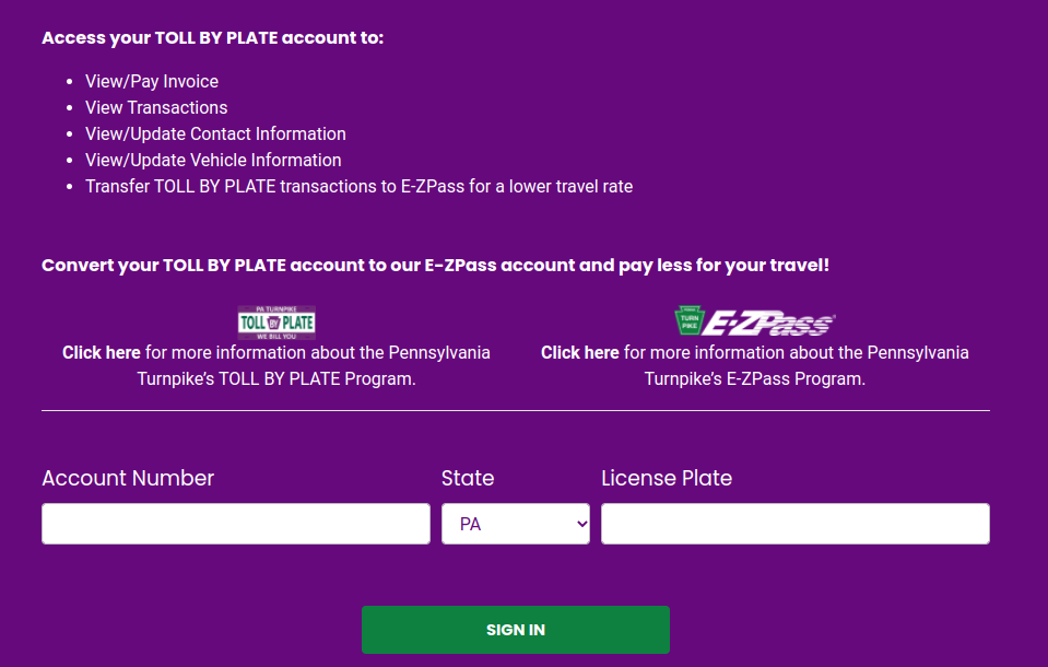 Toll By Plate Login