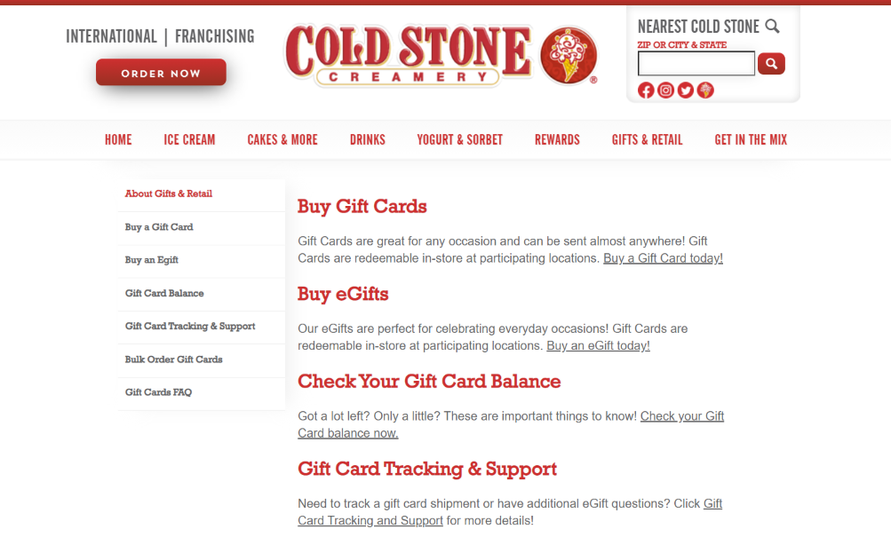 How to Check Your Cold Stone Creamery Gift Card Balance